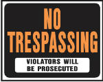 "Hy-Ko Prod SP-104 15 x 19-Inch Hy-Glo Orange/ Black On White Jumbo Plastic ""No Trespassing"" Sign"