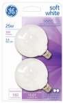 G E Lighting 44412 2-Pack 25-Watt White Globe Light Bulbs
