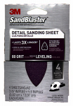 3M 9671SB-ES Sandblaster Sanding Sheet, 3.87 x 5.5-In., 80-Grit Hook-and-Loop, 4-Pk.