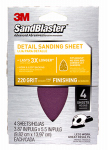 3M 9673 Sanding Sheets, 220-Grit, 3.87 x 5.5-In., 4-Pk.
