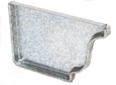 33005 Left End Gutter Cap, White Galvanized Steel, 5-In. - Q