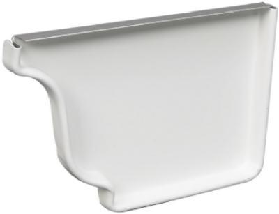 33006 Right End Gutter Cap, White Galvanized Steel, 5-In. -