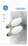 G E Lighting 16001 2-Pack 4-Watt White Night Light Bulbs