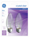 G E Lighting 22756 Clear Torpedo Ceiling Fan Bulbs, 2-Pack, 25-Watt