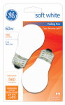 G E Lighting 14029 White Ceiling Fan Light Bulbs, 2-Pack, 60-Watt
