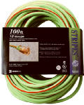 Southwire/Coleman Cable 02549-88-54 100-Ft. 12/3 SJTW  Neon Lime Green Outdoor Extension Cord