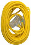 Ho Wah Gentin Kintron Sdnbhd 04188ME Extension Cord, 12/3 SJTW Yellow 3-Outlet, 50-Ft.