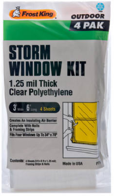 Quantity 1 4-Pack FROST KING P714H Outdoor Storm Window Kit 3 x 6-Ft.