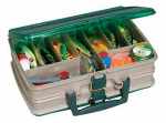 Plano Molding 1120-00 Tackle Box, Satchel-Style, 20-Compartment, Sandstone/Green