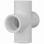 Genova Products 34414 Pipe Fitting, PVC Cross, White, 1-1/4-In.