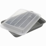 Bradshaw International 84975 Cake Pan, With Dome Cover, Aluminum, 13 x 9 x 3-1/2-In.
