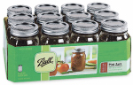 Jarden Home Brands 61000 Tapered Mason Jars With Closures, Pint,  12-Pk