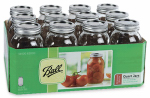 Jarden Home Brands 62000 Regular Mason Jars With Closures, Qt., 12-Pk