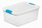 Sterilite 18848012 Latch Storage Box, See-Through, 15-Qts., Must Purchase in Quantities of 12