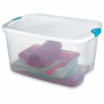 Sterilite 18888004 Latched Storage Box, Clear, 66-Qt., Must Order in Quantities of 4
