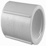 Genova Products 30125 PVC Pressure Pipe Fitting, Coupling, FIP x FIP, White PVC, 1/2-In.