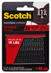 3M RF6731 Extreme Fasteners Recloseable  Strip, Black,  1 x 3-In., 2-Pr.