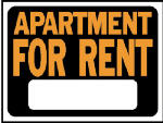 "Hy-Ko Prod 3001 9 x 12-Inch Hy-Glo Orange/ Black Plastic ""Apartment For Rent"" Sign"