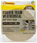 Thermwell R516WH Rubber Foam Weatherseal Tape, 1-1/4W x 7/16-In. T x 10-Ft.