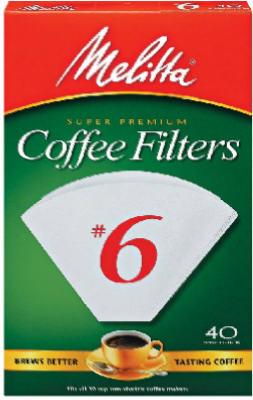 40 Count Pack of 6 Melitta Super Premium #6 Cone Paper Coffee Filters White
