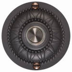 Thomas & Betts DH1652L Lighted White, Round Door Chime Push-Button In Solid Brass/Rust Finish Medallion Housing For Wired Chime System