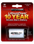 Ultralife U9VLJPXC Lithium Battery, 9V, For Smoke/CO Detector