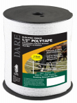 Dare Products 2327 Electric Fence Tape, White Poly & 5-Wire Stainless Steel, .5-In. x 656-Ft.