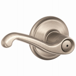 Schlage Lock F40V FLA 619 Satin Nickel Flair Privacy Lockset