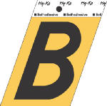 Hy-Ko Prod GG-25/B 3-1/2-Inch Black/ Gold Aluminum Adhesive Letter B