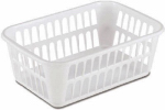 Sterilite 16098024 Storage Basket, White Plastic, 14-5/8 x 9-7/8 x 5-3/4-In.