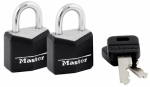 Master Lock 121T 2-Pack 3/4-Inch Solid-Brass Padlock With Black Cover &  Keyhead