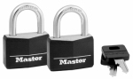 Master Lock 141T 2-Pack 1-9/16 Inch Solid-Brass Body With Black Covered Key Head