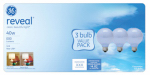 G E Lighting 11676 Reveal  40-Watt  White Globe Incandescent Bulbs, 3-Pack