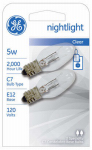 G E Lighting 27979 Night Light Bulb, Clear, 5-Watt, 2-Pk.