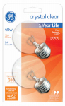 G E Lighting 31109 Incandescent Globe Lamp, Clear, 40-Watt, 2-Pk.