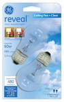G E Lighting 48698 Reveal 60-Watt Clear Ceiling Fan Bulbs,  2-Pack