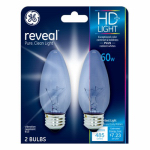 G E Lighting 48713 Reveal 60-Watt Clear Decorative Bulbs, 2-Pack