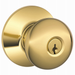 Schlage Lock F51 PLY 605 KA4 Brass Plymouth Entry Lockset