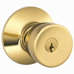 Schlage Lock F51A BEL 605 KA4 Brass Bell Entry Lockset