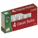 Noma/Inliten-Import 1047C-88 Christmas Lights Replacement Bulb, C7, Clear Twinkling, 4-Pk.