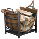 Panacea Products 15245 Log Bin With Leather Log Carrier