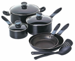 T-Fal/Wearever A797SA84 Get-A-Grip 10-Pc.Cookware Set, Black