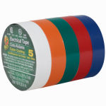 Shurtech Brands 07205 Assorted Vinyl Electrical Tape, 20-Ft. Rolls, 5-Pk.