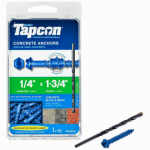 Itw Brands 24320 Tapcon 1/4 x 1-3/4-Inch Concrete Anchors with Hex Washer Head, 75-Pack