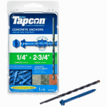 Itw Brands 24330 Tapcon 1/4 x 2-3/4-Inch Concrete Anchors with Hex Washer Head, 75-Pack