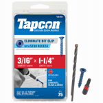 Itw Brands 24350 Tapcon 3/16 x 1-1/4-Inch Concrete Anchors with Phillips Flat Head, 75-Pack