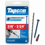 Itw Brands 24365 Tapcon 3/16 x 2-3/4-Inch Concrete Anchors with Phillips Flat Head, 75-Pack