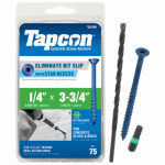 Itw Brands 24395 Tapcon 1/4 x 3-3/4-Inch Concrete Anchors with Phillips Flat Head, 75-Pack