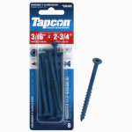 Itw Brands 24165 Tapcon 3/16 x 2-3/4-Inch Phillips Flat-Head Concrete Anchors, 8-Pack