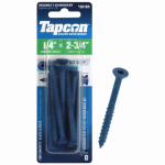 Itw Brands 24185 Tapcon 1/4 x 2-3/4-Inch Phillips Flat-Head Concrete Anchors, 8-Pack